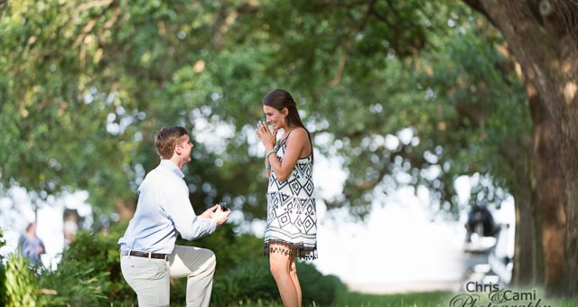 Meredith & Peyton's Secret Proposal at White Point Garden